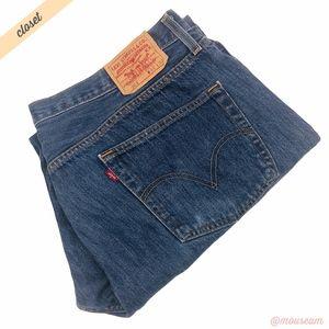 [Levi's] Men's Med Wash 501 Straight Leg Jeans